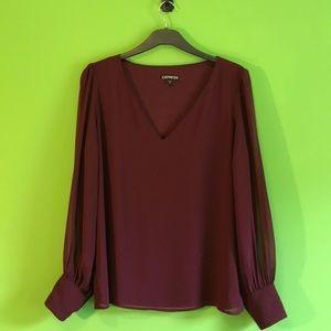 Express - Sheer Sleeved Blouse
